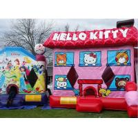 China Pink Hello Kitty Inflatable Bouncer , Blow Up Kids Bouncy Castle For Backyard Fun on sale