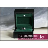 Buy cheap 5mm MDF glossy black and green velvet packing Lighted Ring Box and custom engagement ring box from Wholesalers