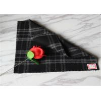 "Quality 59"" Width Tartan Wool Fabric Black Background With White Line 40% Polyester wholesale"