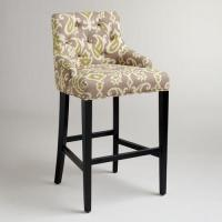 Buy cheap Vintage Country Style Velvet Fabric Wooden Upholstered Bar Stools Tufted Back from wholesalers