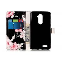 Buy cheap Scratch Resistance Pu Leather TPU Phone Case Black Color With Flower Printing For Iphone from Wholesalers