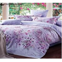Buy cheap Cotton Fabric Quilt Cover Bedding Sets Purple Floral Design Flat Sheet King from Wholesalers