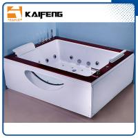 Buy cheap Indoor Double Whirlpool Tub With Oak Edge Cover , Seamless Air Bubble Bathtub from Wholesalers