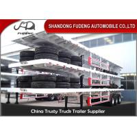 Buy cheap 40ft container carry flatbed truck trailer Air suspension super single tire for Tanzania from Wholesalers