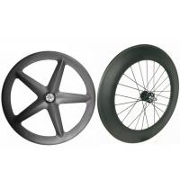 Buy cheap Light Weight Carbon Track Bike Wheels Tubular Front 5 Spoke With Super Strength from Wholesalers