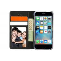 China Black Leather Flip Case With Three Card Slots / Well Made Leather Folio Phone Case on sale