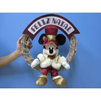 Quality Mickey Mouse Disney Plush Toys with Wreath / Christmas Holiday Stuffed Toys wholesale