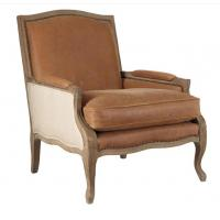 Buy cheap French Antique red , light brown leather living room Armchair with seat cushion from Wholesalers