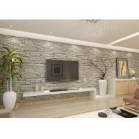 Buy cheap Stylish Removable Faux 3D Brick Effect Wallpaper with Grey Stone Pattern for Living Room from wholesalers