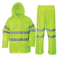 China Soft Reusable Yellow Rain Wear Jacket with Eflective Tapes on sale