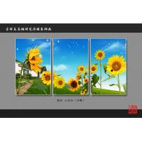 Buy cheap Heat Resistant Faux Tile Wall Panelsembossed Triptych Art Painting Sunflower from Wholesalers