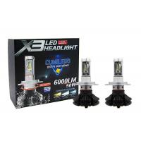 Buy cheap 50W H4 HB2 Fanless X3 Led Headlight 6000LM DC 9 - 36V 360 Degree Beam Angle from wholesalers