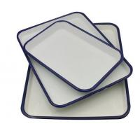 China white+blue color cast iron dinnerware enamel food serving tray on sale