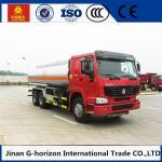 HOWO 8X4 Oil Tank Truck Trailer / Fuel Tank Truck Single - Plate Dry Clutch