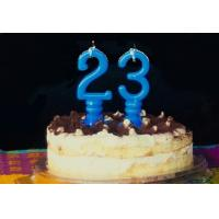 Buy cheap Pure Blue Color Mini Number Birthday Candles With Spiral Candle Holder from Wholesalers