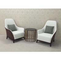 Quality High Back Wooden Lounge Chair Leather Upholstered Lounge Chair / Accent Armchair for sale