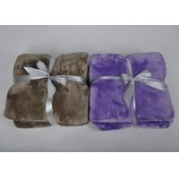 Buy cheap Brown Grey Black Heavy super soft fleece blankets throws with 1cm knitted fabric binding from Wholesalers