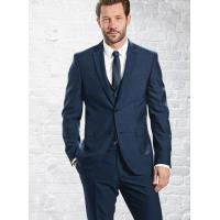 China Mens 3 Piece Suits with Single Back Vent / Customized Blue Formal Wear on sale
