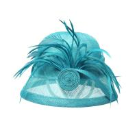 Buy cheap Aqua Cloche Sinamay Ladies Hats Feather Trim & Rolled Sinamay For Special Occasion from Wholesalers