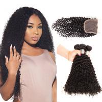 Free Shipping #1B Brazilian Human Hair Kinky Curly Weave 3 Hair Extensions with 4*4 Lace Closure