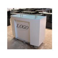 Buy cheap HDF Baking Glossy White Retail Checkout Counter Floor Standing With Printed Logo from Wholesalers