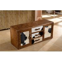 Buy cheap Full Handwork Craft Brown Leather TV Stand Cow Leather Fur Cover Brass Nails Decoration from wholesalers