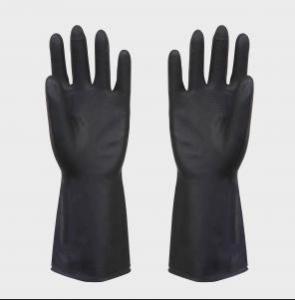 heave duty latex black industrial rubber glove