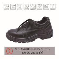 safety work shoes 9038 embossed leather upper, dual pu outsole