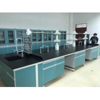 China Acid And Alkali Resistant Bench Top C-Frame Steel Wood Lab Island Bench With Shelves on sale