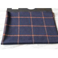 Quality Business Casual Style Plaid Tartan Fabric , Dark Blue Tartan Fabric Wool With Orange Line wholesale