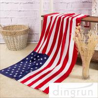 Quality American Flags Artwork Custom Printed Beach Towels Eco Friendly Pure Cotton wholesale