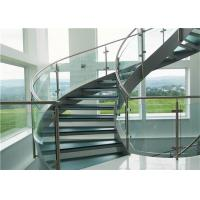 Buy cheap Tempered Glass Tread Curved Staircase Building Curved Stairs With Stainless Stell Railing from wholesalers