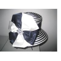 Buy cheap Satin Bow Trimming Fashion Ladies' Church Hats For Party , Diamond Buckle Inside from Wholesalers