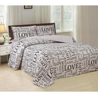 Silky Bed Sheet 4 Piece Bedding Set Luxurious With English Letters Printed