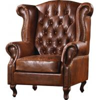 Buy cheap Durable High Back Leather Armchair Vintage Top Grain Brown Living Room Furniture from Wholesalers