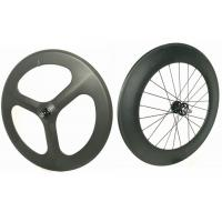 Buy cheap Light Weight 3 Spoke Carbon Track Bike Wheels 700C 20MM Width Anti High Temperature from Wholesalers