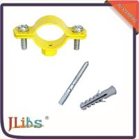 Buy cheap Durable Yellow Painting Pipe Holder Bracket , Round Pipe Clamps 20mm Width from Wholesalers