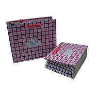 Buy cheap Pink Square Ribbon Handle Paper Carrier Bag for Gift Packing Matt Coated from Wholesalers