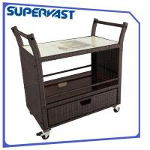 Living Steel Frame Outdoor Resin Wicker Furniture Dining Trolley Resin Rattan Serving Cart