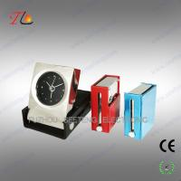 Buy cheap Folding square leather travel table alarm clock with metal case material from Wholesalers