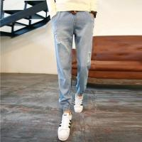 Buy cheap Grey / Blue Womens Slim Straight Leg Jeans Regular Rise Customize Printing from Wholesalers