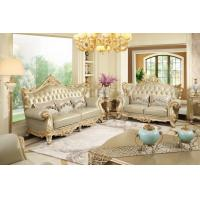 Buy cheap Luxury Classic French design of Living room Sofa sets 1+2+3  used Beech wood fame and Import Italy Leather upholstered from wholesalers