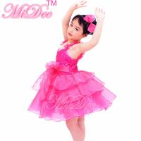 Flower Kids Dance Clothes Straps Sequines Bodice Tiers Organza Dress With Ruffled Skirt