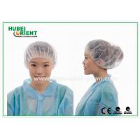 Buy cheap 12gsm Disposable Nonwoven Bouffant Cap 21 Inch in White Red from wholesalers