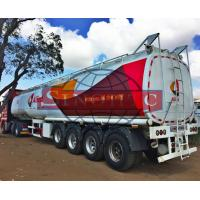 50m3 4 Alxe Fuel Tanker Semi Trailer , Diesel / Petrol Trailer Tank 6 Compartments