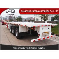 Quality Tri - Axle Flatbed Container Trailer Mechanical Suspension 30-80 Tons Payload for sale