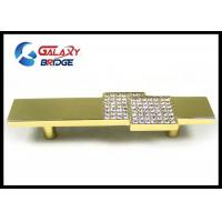 Buy cheap Square Crystal Drawer Handles , 96mm Arcylic Stone Gold Cabinet Pulls Gorgeous Golden Knobs from Wholesalers