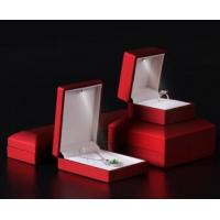 Buy cheap Logo Foiled Plastic Jewellery Box , Wedding Ring Box With Light Long Plush Insert from wholesalers