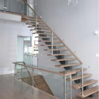 Buy cheap Prima factory Mono Steel beam Glass Railing Wood Step Staircase from wholesalers