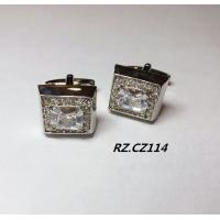 square copper men shirt cufflink with cubic zircon stone with four plating